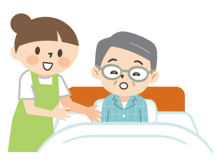 Young caregiver helping a senior man to sleep in bed