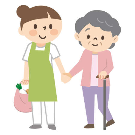Caregiver attending shopping for an elderly woman