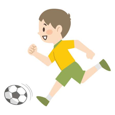 Illustration of a boy playing soccer Ilustracja