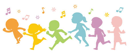 Illustration of colorful silhouettes of running children Illusztráció