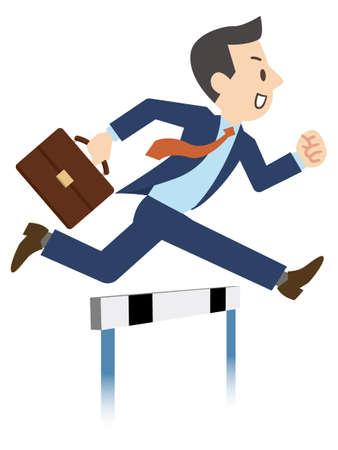Illustration of a businessman jumping over hurdles Ilustração Vetorial