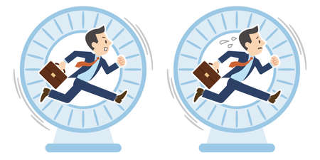 Illustration of a businessman who keeps running in the wheel