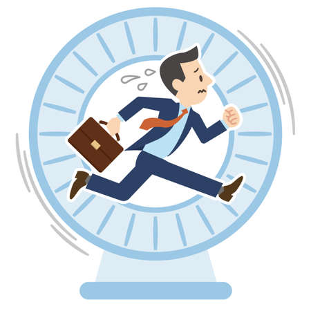 Illustration of a businessman who continues to work and is overworked