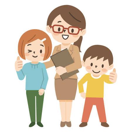 Illustration set for cram school teachers and children