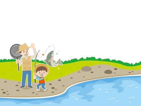 Illustration of parent and child fishing