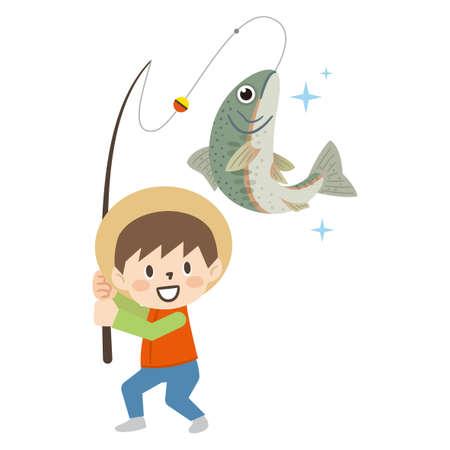 Illustration of a boy fishing