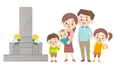 Illustration of a family visiting a grave