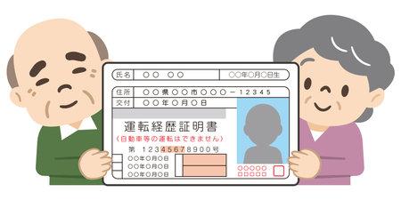 Elderly people who voluntarily return their driver's license Ilustración de vector