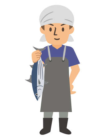 Young man working in a fishmonger Vecteurs