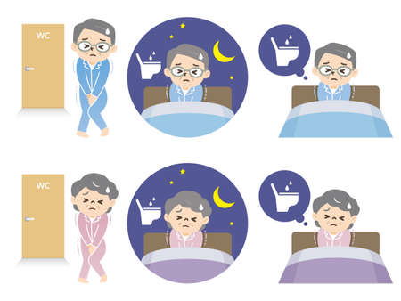 Illustration set of elderly men and women who lack sleep due to nocturia