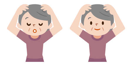Illustration of a senior woman doing a head massage
