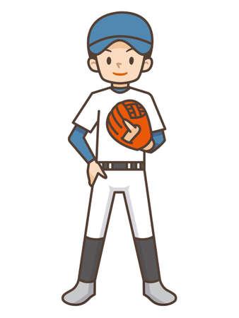 Illustration of a boy playing baseball