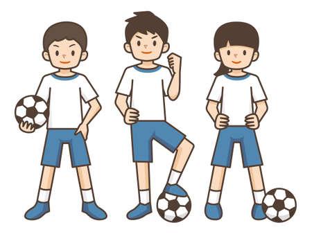Illustration of children playing soccer