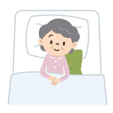 Illustration of a bedridden senior woman 일러스트
