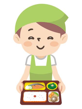 Illustration of female staff of food distribution service 일러스트