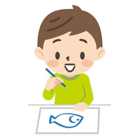 Illustration of children drawing 일러스트