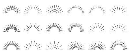Sunburst sun ray. Vector burst sunshine  . Sunrise round emblem. 일러스트