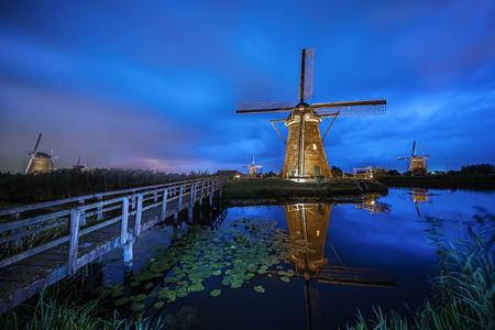 Sunset at Kinderdijk, the windmills farm list at Alblasserdam, nearby Rotterdam, Netherlands