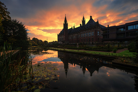 Beautiful sunrise on the peace palace, seat of the international court of justice, The Hague, Netherlands.