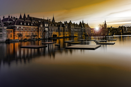 Binnenhof palace, place of Dutch Parliament in The Hague, of Netherlands at dusk
