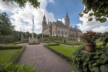 Garden view on the Peace Palace, seat of the International Court of Justice, principal judicial organ of the United Nations in The Hague, Netherlands