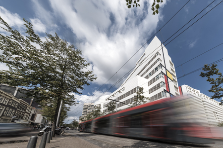 Fast urban tram concept in the Hague, Netherlands Stock Photo