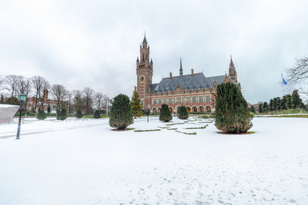 THE HAGUE, 11 December 2017 - Snow on the Peace Palace, seat of the International Court of Justice and Principal judicial organ of the United Nations in the Netherlands