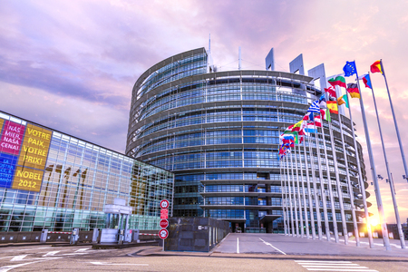 STRASBOURG, 25 December 2012 - Sunrise on the European parliament building promoting its Nobel price panels in Strasbourg, France Editorial