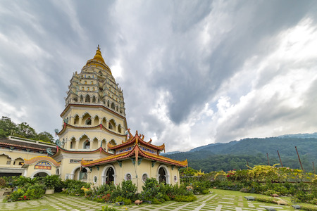 Up view on the 'Penang' and Buddhist temple called 'Kek Lok Si' in Chinese from the high land garden.