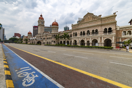 View of the empty Bangunan Sultan Abdul Samad building from the Merdeka square, independence place, in Kuala Lumpur, Malaysia