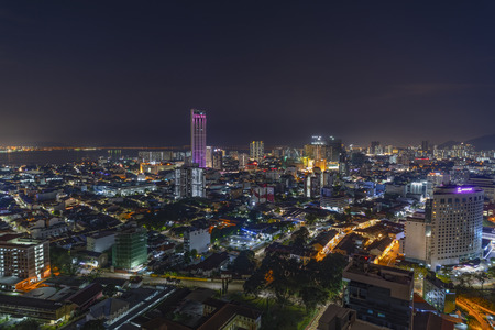 Aerial view of Penang night cityscape with illuminated  building and busy circulation streets Stock Photo