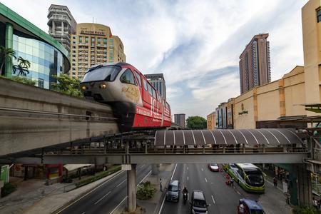 KUALA LUMPUR, 29 July 2018 - The monorail train runs, operates at the Bukit Bintang station in front the Lot 10 shopping mall, Malaysia