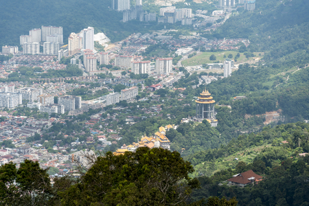 Aerial view of Penang cityscape with  building and busy circulation streets