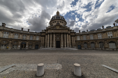 The Institut de France, French learned society, grouping five académies, the most famous of which is the Académie française. The building was originally constructed as the Collège under the reign of the king Louis XIV Editorial