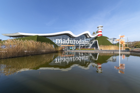THE HAGUE, 5 November 2018 - Front view of Madurodam miniature, the  park that shows most of the Dutch monuments under a clear cloudy sunny day