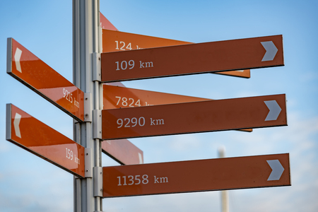 Direction pole indicating the direction of several cities and the distance from the current position in kilometer unit Stockfoto - 112034429