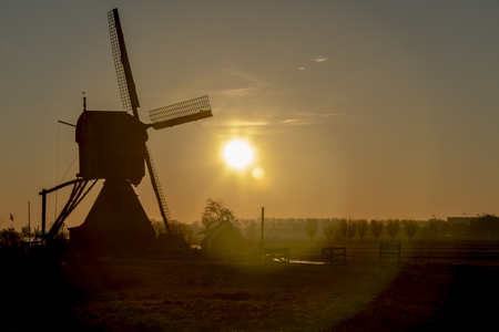 Dutch rural landscape at the early morning sunrise creating silhouettes with the back lit