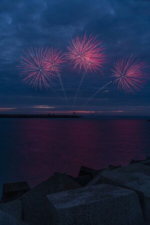 Fireworks launch at the pier of the Scheveningen harbor celebrating the Tall Ship Regatta in The Hague, Netherlands