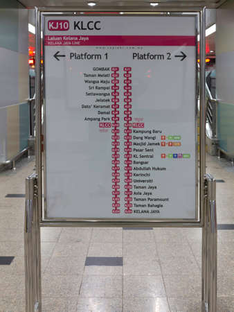 KUALA LUMPUR, 28 Juily 2013 - Map of the underground, or MRT, train at the KLCC, Petronas Twin Towers station, Malaysia Editorial