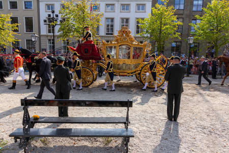 THE HAGUE, 16 September 2014 - The king Willem-Alexander of Netherlands in his carriage heading to his palace before giving the speech to the Dutch parliament and to open parliamentary year