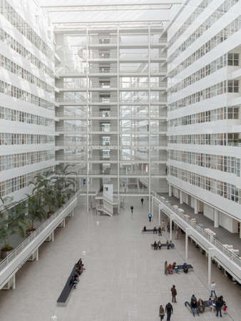 THE HAGUE, 2 October 2013 - Aerial view of inside The Hague city hall white glass building, Netherlands Editorial