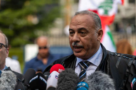 Leidschendam, 18 August 2020 - Vincent Courcelle-Labrousse (center) the Defense lawyer commenting to the press on Special tribunal for Lebanon to deliver ruling on killing of ex-Lebanese PM