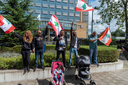 LEIDSCHENDAM, 18 August 2020 - Groupe of protester, demonstration, in front the Special Tribunal for Lebanon at the day of the judgment, Netherlands Editorial