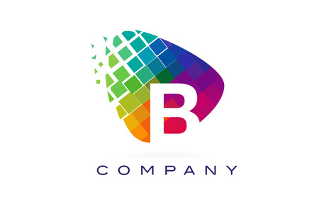 Letter B Colourful Logo. Rainbow B Letter Icon with Shattered Blocks.