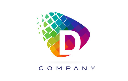 Letter D Colourful Logo. Rainbow D Letter Icon with Shattered Blocks.