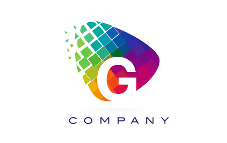 Letter G Colourful Logo. Rainbow G Letter Icon with Shattered Blocks.