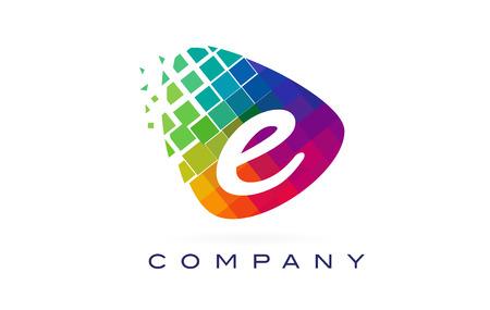 Lettre E Logo Coloré. Icône de lettre E arc-en-ciel avec blocs brisés.