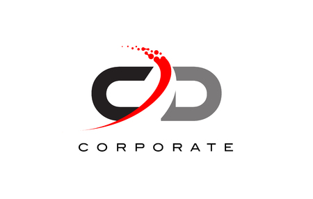 CD Modern Letter Logo Design with Red Swoosh and Dots