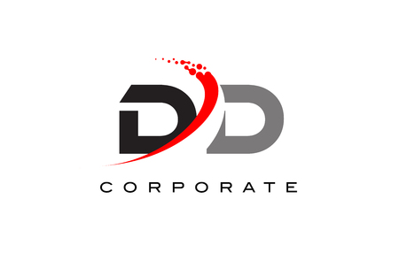 DD Modern Letter Logo Design with Red Swoosh and Dots