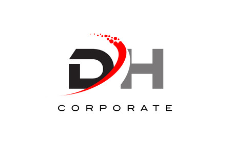 DH Modern Letter Logo Design with Red Swoosh and Dots